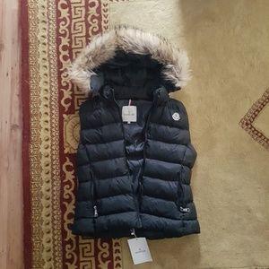 moncler fox fur hoodie black vest